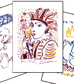 Cartes &quot;Pablo Picasso&quot; - Carnaval (lot de 3)