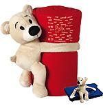 Ours en peluche avec couverture polaire (rouge)