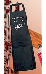 Tablier de cuisine &quot;Ma recette c&#039;est la Paix&quot;